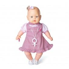 Boneca Bebezinho Vestido Rosa - 49 centímetros