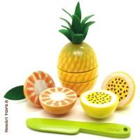 Coleção Comidinhas Kit Frutas com Corte - Abacaxi, Laranja e Maracujá