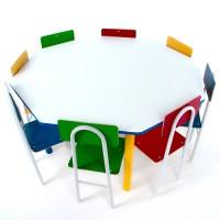 Mesa Oitavada com 8 Cadeiras de Ferro - 1738