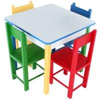 Mesa com 4 Cadeiras de Madeira - Madeira e MDF
