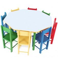 Mesa Oitavada com 8 Cadeiras de Madeira e MDF - 5018