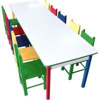 Mesa Grande Colorida com 10 Cadeiras de Madeira - 5021